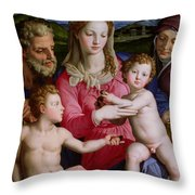 Holy Family With St Anne And The Infant St John The Baptist Throw Pillow by Agnolo Bronzino