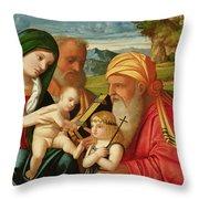 Holy Family With St. Simeon And John The Baptist Throw Pillow by Francesco Rizzi da Santacroce
