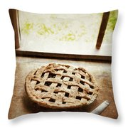 Home Made Pie Cooling By Open Window Throw Pillow