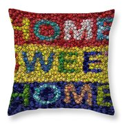 Home Sweet Home Bottle Cap Mosaic  Throw Pillow by Paul Van Scott