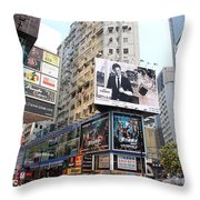 Hong Kong Crowd Throw Pillow