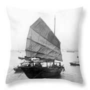 Hong Kong Harbor - Chinese Junk Boat - C 1907 Throw Pillow