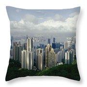 Hong Kong Island And The Bay Throw Pillow