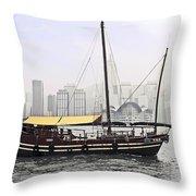 Hong Kong Junk Throw Pillow