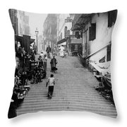 Hong Kong Vintage Street Scene - C 1896 Throw Pillow