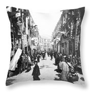 Hong Kong Vintage Street Scene - C 1902 Throw Pillow
