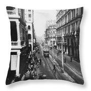 Hong Kong Vintage Street Scene - C 1913 Throw Pillow