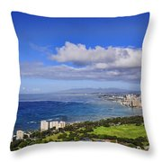 Honolulu From Diamond Head Throw Pillow