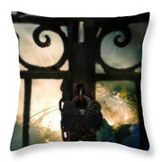 Hooded Figure By A Fire Throw Pillow