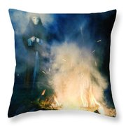 Hooded Figure In A Mask By A Fire Throw Pillow