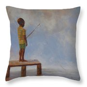 Hoping For The Big One Throw Pillow