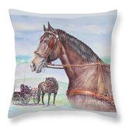 Horse And Cart Throw Pillow