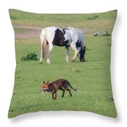 Horse And Fox Throw Pillow