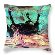 Horse Born Of Earth Water Sky Throw Pillow by Carol Law Conklin
