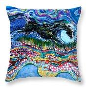 Horse Born Of Moon Energy Throw Pillow by Carol Law Conklin