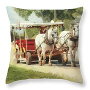 Horse Carriage Mackinac Island Michigan Throw Pillow