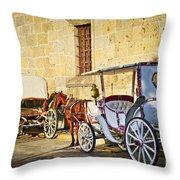 Horse Drawn Carriages In Guadalajara Throw Pillow