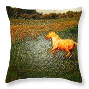 Horse Frolicking Throw Pillow