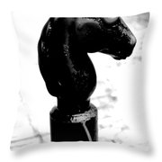 Horse Head Pole Hitching Post French Quarter New Orleans Black And White Conte Crayon Digital Art Throw Pillow