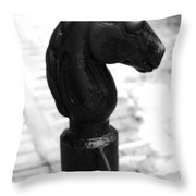 Horse Head Pole Hitching Post French Quarter New Orleans Black And White Diffuse Glow Digital Art Throw Pillow
