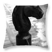 Horse Head Pole Hitching Post French Quarter New Orleans Black And White Throw Pillow