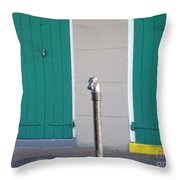 Horse Head Post With Green Doors Throw Pillow