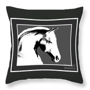 Horse In Black And White Throw Pillow