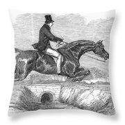 Horse-jumping, 1852 Throw Pillow