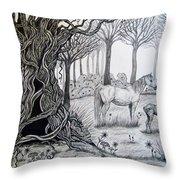 Horse Meadow Throw Pillow