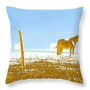 Horse Pasture Revblue Throw Pillow
