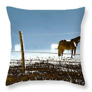 Horse Pasture Revdkblue Throw Pillow