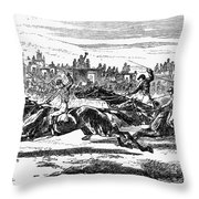 Horse Racing, 1857 Throw Pillow