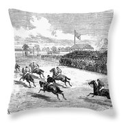 Horse Racing, 1870 Throw Pillow
