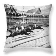 Horse Racing, 1889 Throw Pillow