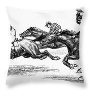 Horse Racing, 1900 Throw Pillow
