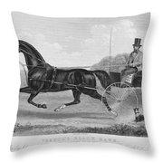 Horse Racing, C1850 Throw Pillow