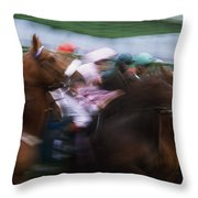 Horse Racing Horses Breaking From The Throw Pillow