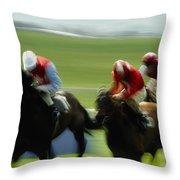 Horse Racing, Ireland Jockeys Racing Throw Pillow