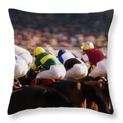Horse Racing, Phoenix Park, Dublin Throw Pillow
