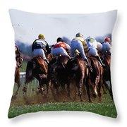 Horse Racing Rear View Of Horses Racing Throw Pillow