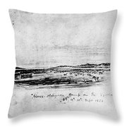 Horse Slaughter Camp 1858 Throw Pillow