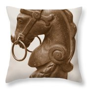 Horse Tether In New Orleans - Sepia Throw Pillow