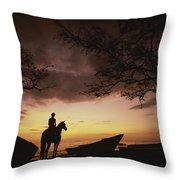 Horseback Rider Silhouetted On A Beach Throw Pillow