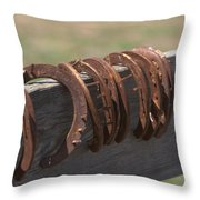 Horsehoes Throw Pillow