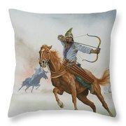 Horsemen From The Steppes Throw Pillow