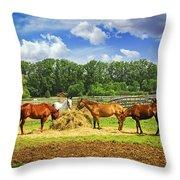 Horses At The Ranch Throw Pillow