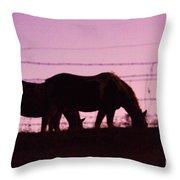 Horses Grazing At Dawn  Throw Pillow