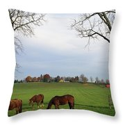 Horses Grazing Throw Pillow