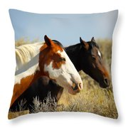 Horses In The Wild Throw Pillow