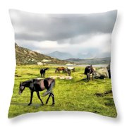 Horses Of Wyoming Throw Pillow